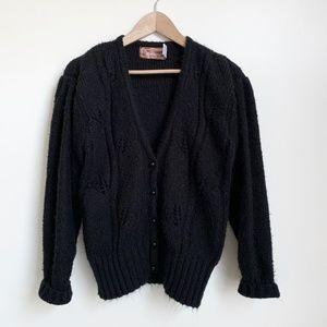 Vintage Cable Knit Chunky Cardigan